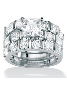 Princess-Cutcubic zirconia Wedding Ring Set by PalmBeach Jewelry