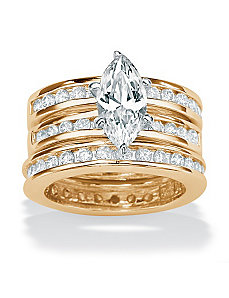 3-Piececubic zirconia 18k/SS Ring Set by PalmBeach Jewelry