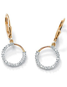 Diamond Acc. 18k/SS Hoop Earrings by PalmBeach Jewelry