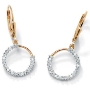 Diamond Acc. 18k/SS Hoop Earrings