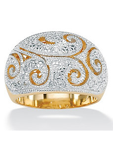 Diamond Acc. 18k/SS Dome Ring by PalmBeach Jewelry