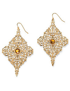 Filigree Drop Pierced Earrings by PalmBeach Jewelry