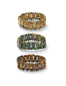 Set of Three Gemstone Bracelets by PalmBeach Jewelry