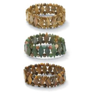 Set of Three Gemstone Bracelets