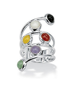 Multi-Colored Jade Silver Ring by PalmBeach Jewelry