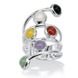Multi-Colored Jade Silver Ring