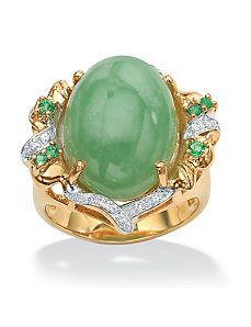 Green Jade/Emerald andcubic zirconia Ring by PalmBeach Jewelry