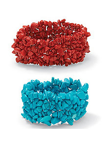 Set of 2 Stretch Nugget Bracelets by PalmBeach Jewelry