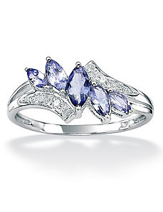 Tanzanite Diamond Acc.10k Ring by PalmBeach Jewelry