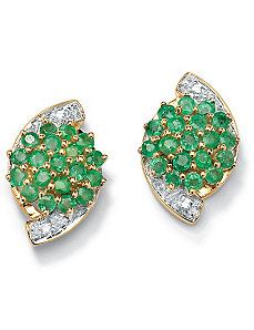 Emerald 10k Gold Cluster Earrings by PalmBeach Jewelry