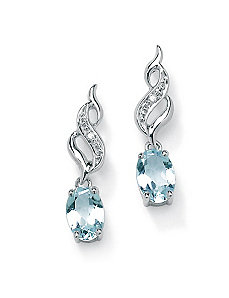 Aquamarine/Diamond Accent Earrings by PalmBeach Jewelry
