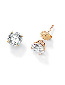 Roundcubic zirconia Stud Earrings by PalmBeach Jewelry