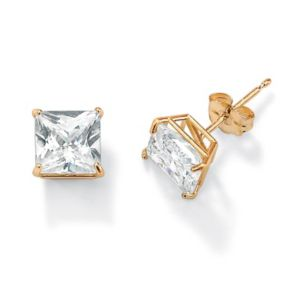 Princess-Cutcubic zirconia Pierced Earrings