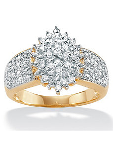Diamond 18k/SS Cluster Ring by PalmBeach Jewelry
