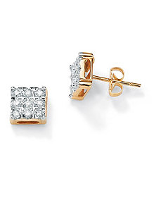10k Gold Diamond Accent Earrings by PalmBeach Jewelry