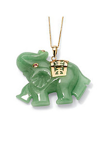Green Jade Elephant Pendant by PalmBeach Jewelry