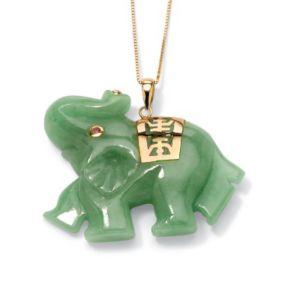 Green Jade Elephant Pendant