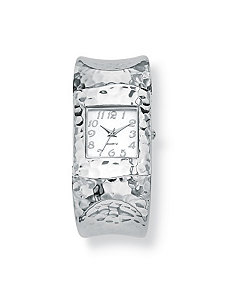 Hammered-Style Silvertone Watch by PalmBeach Jewelry