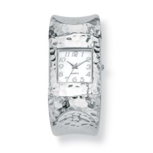 Hammered-Style Silvertone Watch