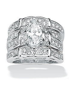 Cubic Zirconia SS Ring by PalmBeach Jewelry