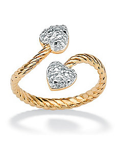 18k/SS Diamond Acc. Heart Ring by PalmBeach Jewelry