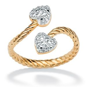 18k/SS Diamond Acc. Heart Ring