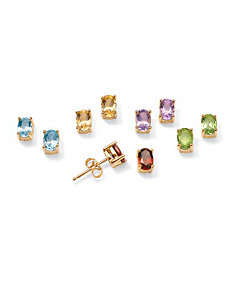 Five-Pair Genuine Gemstone Earrings by PalmBeach Jewelry