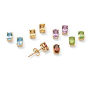 Five-Pair Genuine Gemstone Earrings