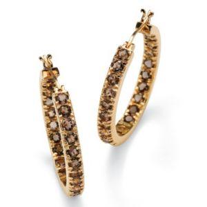 Smoky Quartz Hoop Pierced Earrings