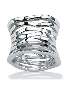 Sterling Silver Multi-Row Band by PalmBeach Jewelry