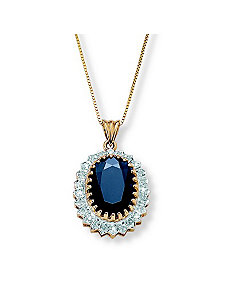 Sapphire and Diamond Accent Pendant by PalmBeach Jewelry