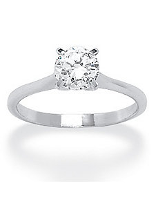 Silver/Cubic Zirconia Solitaire Ring by PalmBeach Jewelry