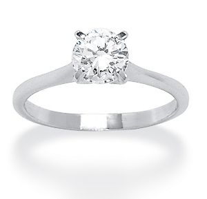 Silver/Cubic Zirconia Solitaire Ring