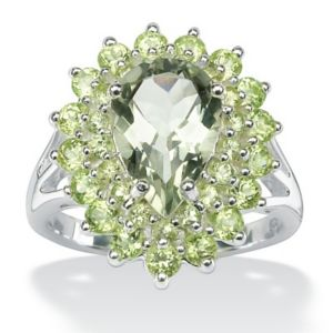Green Amethyst and Peridot Ring