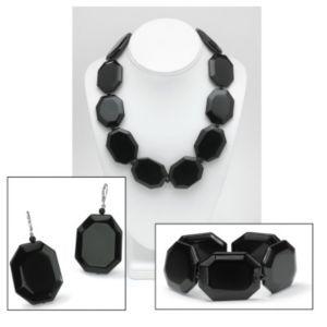 Octagon-Shaped Onyx Jewelry Set