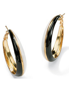 Black & White Hoop Pierced Earrings by PalmBeach Jewelry