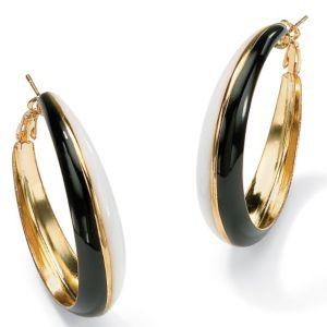 Black & White Hoop Pierced Earrings
