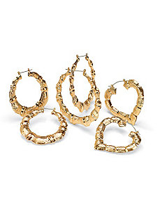 Set of 3 Pairs of Hoop Earrings by PalmBeach Jewelry