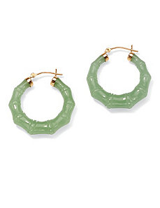 Green Jade 14k Pierced Earrings by PalmBeach Jewelry