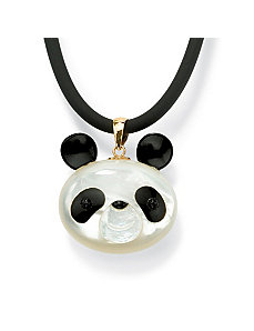 Mother-of-Pearl/Recon. Onyx Pendant by PalmBeach Jewelry
