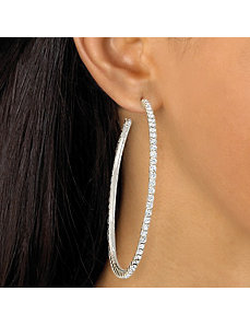 Crystal Hoop Pierced Earrings by PalmBeach Jewelry