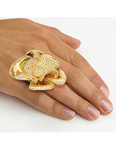 Cubic Zirconia Flower Ring by PalmBeach Jewelry