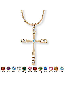 Birthstone Cross Pendant 18