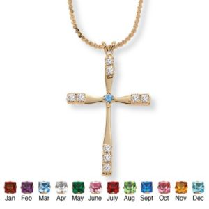 Birthstone Cross Pendant 18""