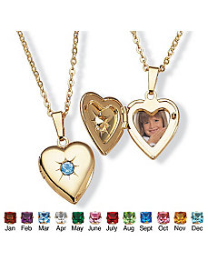 Sim. Birthstone Heart Locket by PalmBeach Jewelry