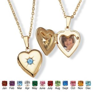Sim. Birthstone Heart Locket