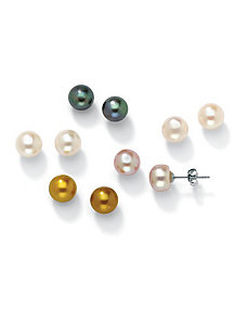 Five-Pair Set Pearl Earrings by PalmBeach Jewelry
