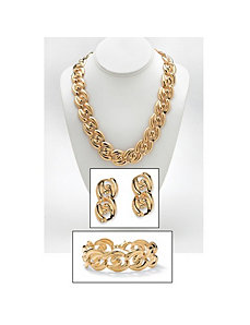 Three-Piece Curb-Link Jewelry Set by PalmBeach Jewelry