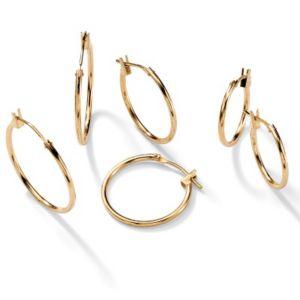 Three-Pair Hoop Pierced Earring Set