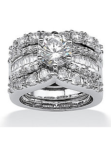 Cubic Zirconia Wedding Ring Set by PalmBeach Jewelry